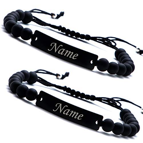 Personalisierbare Armbänder mit Onxy Perlen | Partnerarmband mit Gravur | Armband mit Wunschgravur für Sie und Ihn | Personalisiertes Armband