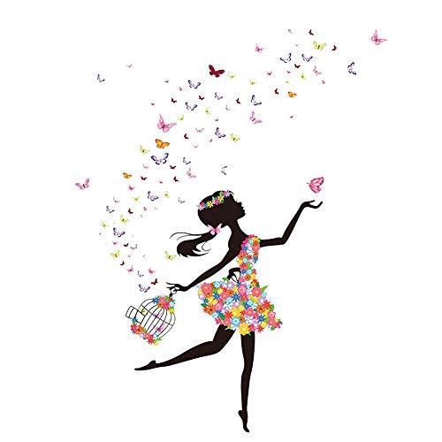 Creative-Tanzen-Mädchen-Muster-Wand-Aufkleber Loslassen Schmetterlinge Stilvolle Mode Spiegel Aufkleber Removable DIY Wandaufkleber Hauptdekoration