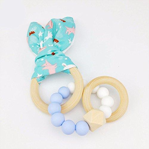 Best for baby 1PC Perles en silicone Bébé teether Bois bague Fait main Des oreilles de lapin charme Bracelet Non toxique sécurité Jouets sensoriels cadeau sucette allaitement