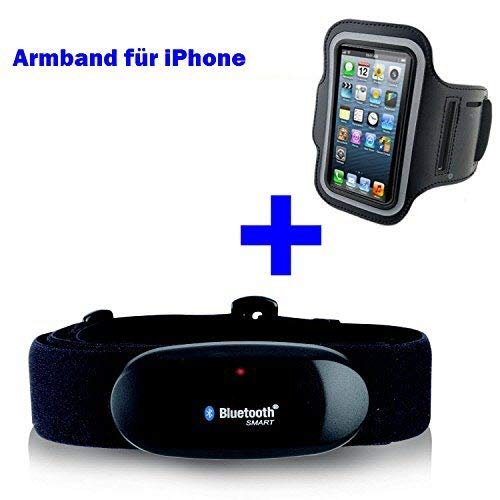 GO-SHOPPING24 Bluetooth BRUSTGURT 4.0 + Armband für iPhone 4S / 5 / 5C / 5S / 6 / 6S / 6 Plus/SE / 7 / 7S / 7 Plus / 8 / X für RUNTASTIC, RUNTASTIC PRO App Ipod Nano 4. Generation Armband