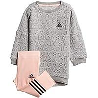 Adidas Unisex Baby Sweat Dress Set Chándal, otoño/Invierno, Unisex bebé, Color Gris Jaspeado/Negro, tamaño 104