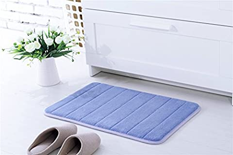 Kemai Super absorbant l'eau à la maison de salle de bain antidérapant en microfibre Ensemble de tapis de bain avec mousse à mémoire de forme, bleu lac, 40x60