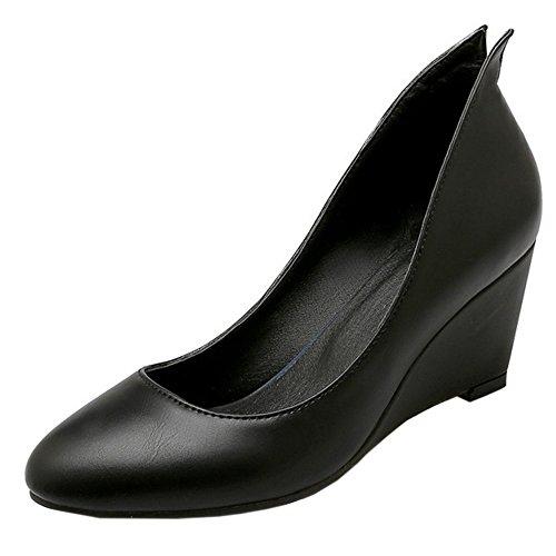 TAOFFEN Femmes Compense Escarpins Confortable A Enfiler Travail Chaussures Noir