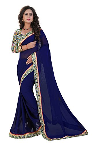 Saree Shree laxmi creation womens light blue colour heavy work half & half desin chiffon saree
