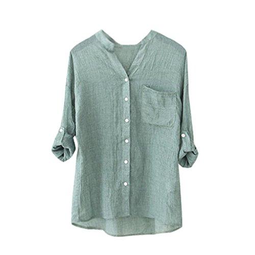Manches longues Blouse, Femmes Coton Chemise pleine Occasionnel Blouse lâche Boutons vers le bas Vert