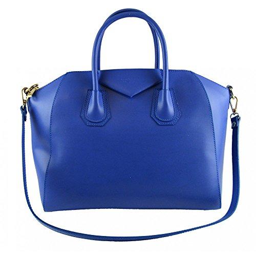 borsa da donna tipo GIVENCHY in vera pelle manifattura fiorentina (blu)