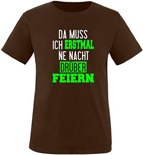 Luckja Da muss ich erstmal ne Nacht drüber Feiern Herren Rundhals T-Shirt Braun/Weiss/Neongruen
