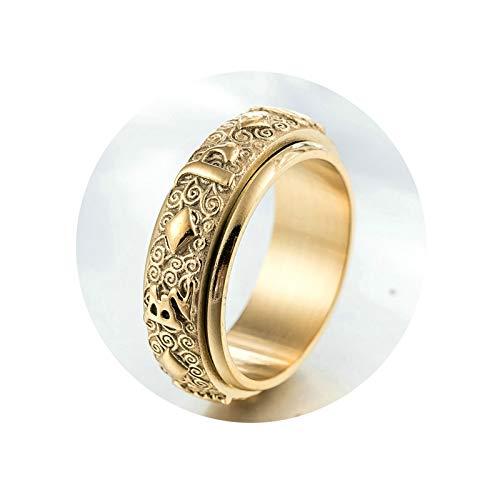 AnazoZ Schmuck Herren Ringe Trauringe aus Edelstahl Herren Ringe Metall Buddhistisches Sechs Wörter Mantra Siegelring Bandring Verlobungsring Biker Ring für Männer Gold 60 (19.1)