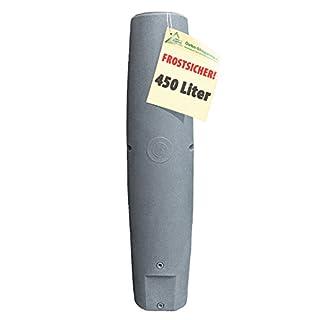 REGENTONNEN SÄULE granit-grau 450l - das schlanke REGENFASS REGENSPEICHER REGENBEHÄLTER - KOMPAKT und PRAKTISCH mit viel Volumen auf KLEINSTER Stellfläche