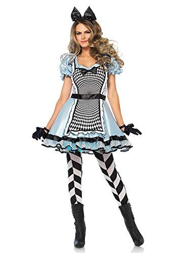 Leg Avenue 85533 2 teilig Set Hypnotic Alice, Damen Karneval Kostüm Fasching, M, blau und schwarz (Alice Kostüm)