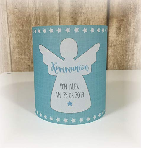 4 x Windlicht Tischlicht Tischdeko Transparentpapier Taufe Geburtstag Jugendweihe Kommunion Konfirmation Engel Schutzengel hellblau blau aqua babyblau