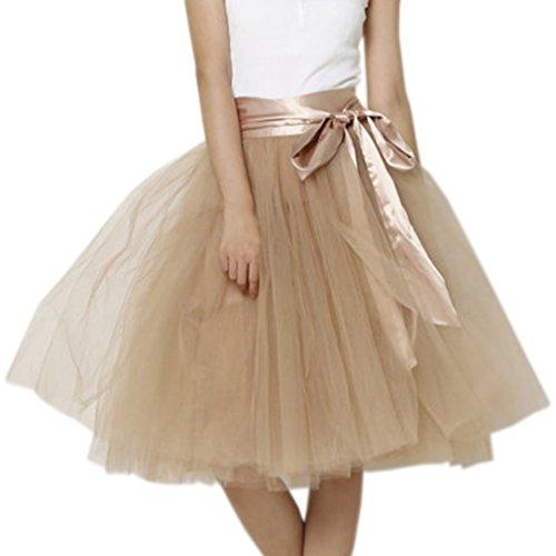 Wedding Lady - Gonna in tulle da donna, lunga al ginocchio, con fiocco, per abito nuziale cachi
