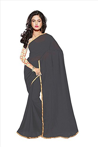 Sparsh Sarees calaction chiffon Grey colored Plain Saree comes with Matching Net Fabrics Unstitched blouse.