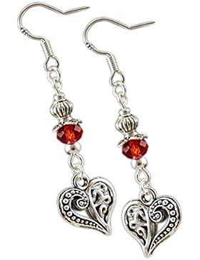 Katharina Fairytale Damen Mädchen Ohrringe der Rosenfee mit Herz roter Perle Ohrhaken aus 925er Sterling Silber