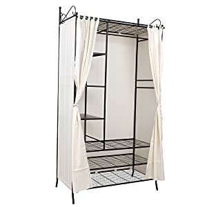 songmics wardrobe clothes cupboard hanging rail storage. Black Bedroom Furniture Sets. Home Design Ideas
