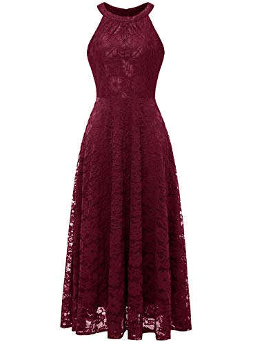 (MUADRESS MUA6012 Damen Abendkleid Maxi Spitzenkleid Lang Schulterfrei Ärmellos Floral Burgundy M)