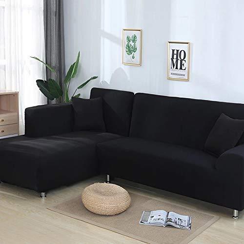 Grea Couvre-Meubles Extensibles de Housse de canapé d'angle de Couverture de canapé de Couleur élastique pour Le Salon-Noir, 2 Places