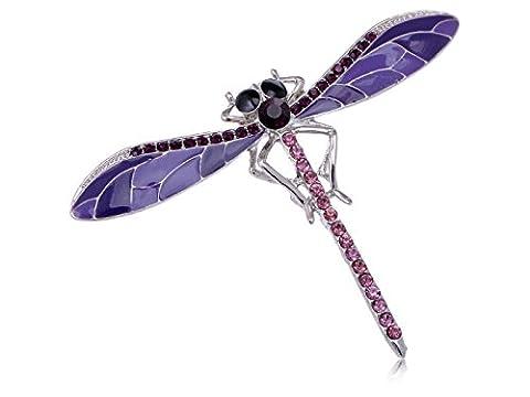 Lavender Enamel Purple Amethyst Crystal Rhinestone Dragonfly Costume Pin