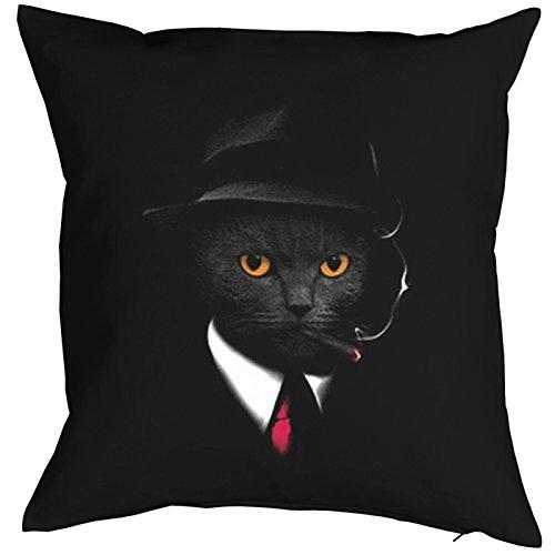 Kissen komplett mit Füllung, Dekokissen, Sofakissen mit cooler Katze - Agent Cat