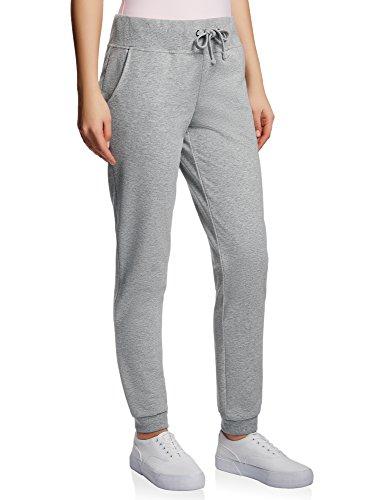 Oodji ultra donna pantaloni sportivi in maglia, grigio, it 38 / eu 34 / xxs