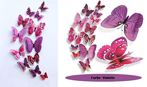 WandSticker4U- 24er hochwertige 3D Schmetterlinge mit Magnet und Doppelflügeln | Wanddeko Aufkleber Butterfly Hochzeit basteln Deko für Schlaf- Wohnzimmer Kinderzimmer(Lila+Lila)