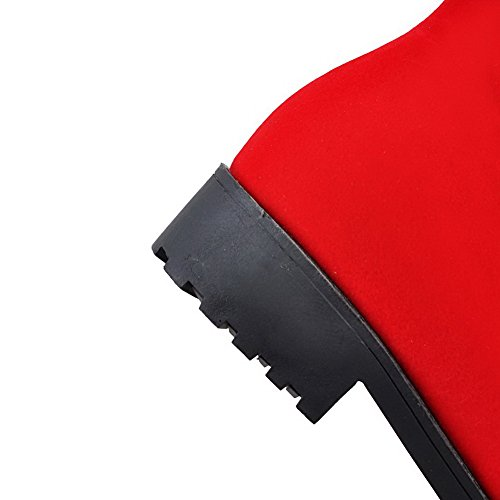 AllhqFashion Damen Rund Zehe Niedriger Absatz Hoch-Spitze Stiefel mit Metallisch Rot