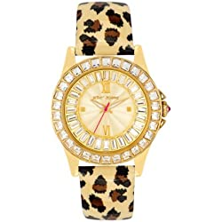 Betsey Johnson Women's Quartz Watch with Beige Dial Analogue Display and Multicolour Leather Strap BJ00004-02