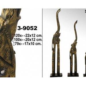 Supernova Decoracion-Set 3 figuras elefantes con trompa arriba. Fabricado en madera acabado...