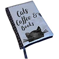 Book Cover Handmade, Book Cover Fabric, Cats Coffee Books, Notebook Cover, book lovers, UK Book Accessories, Fabric book cover, Cat lovers
