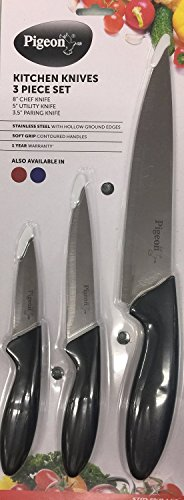 Pigeon Kitchen Knives Set, 3-Pieces (Colours may vary)