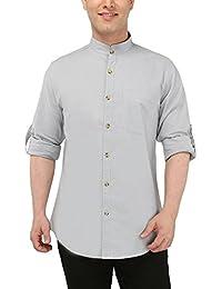 Nick y para hombre jess cielo Azul Mao cuello Casual lino Slim Fit Shirt