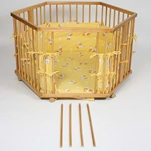 Parc r glable en hauteur hexagonal motif canards jaune b b s amp - Parc en bois hexagonal ...