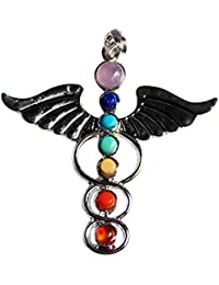 Contever® Colgante 7 Gemstone Beads Chakra Colgante Pendant Regalo Unisex - Alas del Angel del Estilo