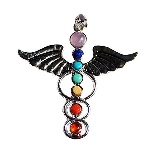 Contever® Colgante 7 Gemstone Beads Chakra Colgante Pendant Regalo Unisex - Alas del Angel del