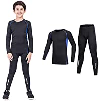 Coralup Kids Compression Sets Base Layer Boys&Girls Sport Thermal Underwear Suits Fitness Clothing 2PCS 4-13Years