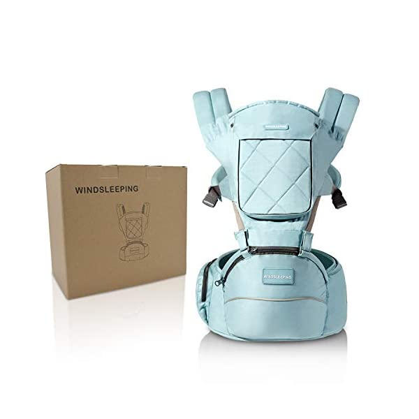 "Windsleeping Toddler Baby Carrier with Hood for All Seasons,6-in-1 Ways to Carry,Hip Seat Carrier Front and Back,Silicone Skid-Proof Seat Surface,Suit for Infant,Toddler,Kids,Newborn - Blue Windsleeping [Specification] - Watch more detail video please click: https://www.amazon.com/dp/B07N3V4SDL?ref=dp_vse_rvc0.Size of the child carrier backpack is: L 29.4*H 27.3*W 19.2CM(11.5""*10.7""*7.5""). Weight: 1.05KG(2.31lbs). Max load-bearing: Up to 40 pounds/ 20Kg. Suitable 3-36 months age children [Breathable Natural Latex & Cotton] - Made of natural latex, breathable cotton, natural latex can inhibit bacteria and allergens effectively, Unique breathable pinhole design can dissipate body heat and moisture, make comfort for both you and baby [Portable Split Design & 6 Carrier Ways ] - The waist stool of the baby travel carrier could be detached from upper strap, makes the waist stool can be used independently, can easily use when traveling. More than 6 ways to carrier: front inward, front outward, hip or back carry 2"
