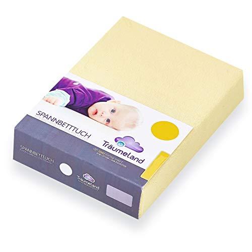 Träumeland Spannbetttuch für Wickelauflagen Frottee gelb 75x85 2er Pack
