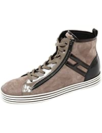 Hogan C8346 Sneaker Donna Rebel R182 Hi Top Con Zip Marrone Nero Shoe Woman 500b7d8752d
