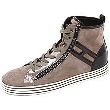 C8346 sneaker donna HOGAN REBEL R182 HI TOP con zip marrone nero shoe woman 26ff33fc23b