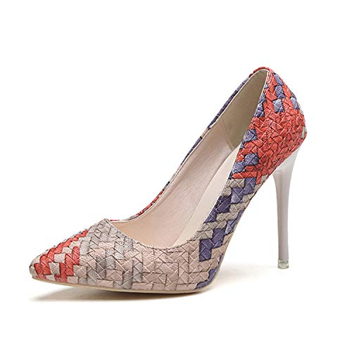 Elegant Sandals Women High Heels Pumps Super High Heel 8cm Women's Banquet Sandals Waterproof Platform Toe Sandals red 5