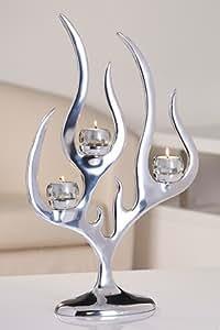 Photophore flame d'ambiance design élégant en aluminium