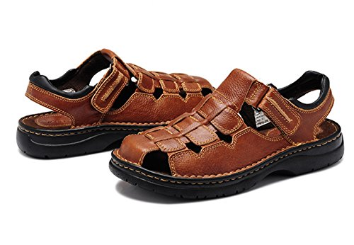 Insun Herren Sandalen Nein Peep-Toe Schuhe Klettverschluss Pantoletten Braun