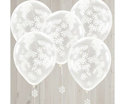 Preisvergleich Produktbild Ginger Ray Weihnachten Luftballon Konfetti Schneeflocken 5 Stck. weiß