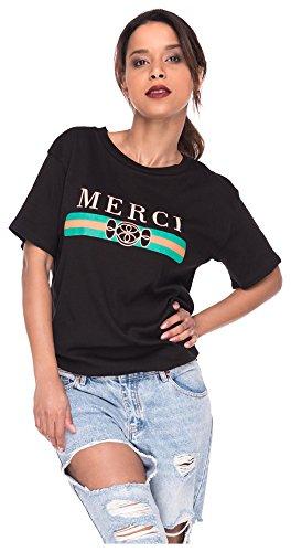 37e768062a71 Loomiloo Oversize Shirt Logoprint Damen T-Shirt Top Oberteil Tshirt  Oversized Mercy S M Mercy Schwarz