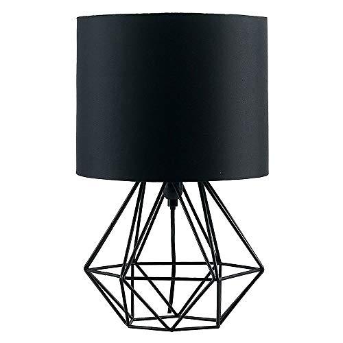 Lámpara de mesa de estilo jaula de metal industrial con una pantalla de tela blanca/negra, accesorio antiguo para la simplicidad de la iluminación de la mesita de noche para el cabecero de la recámara