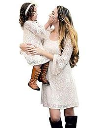 JEELINBORE Madre e Figlia Elegante Girocollo Vestito Pizzo Manica Lunga  Vestiti Famiglia Abito da Partito Cocktail 9432a5fb270