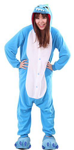 Honeystore Unisex Erwachsene Animal Tier Weihnachten Halloween Fasching Carnival Kigurumi Cosplay Overall Pajamas Pyjamas Dinosaurier Schlafanzug Kostüme Jumpsuit Kleidung M
