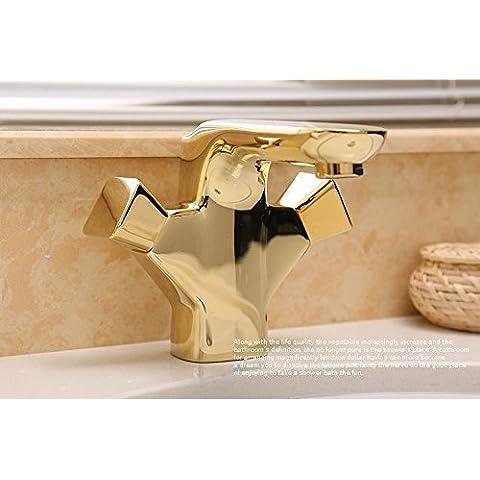CAC Oro in Ottone foro unico doppie maniglie bagno lavabo