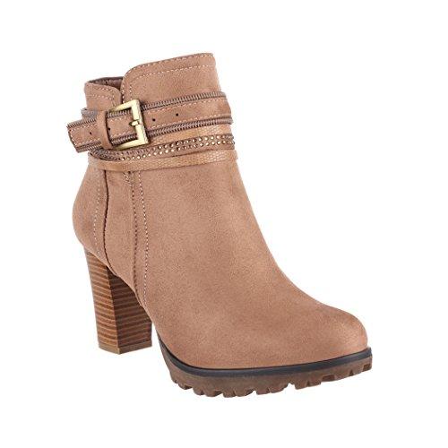 Elara Damen Stiefelette | Bequeme Ankle Boots | Plateau Absatz | Chunkyrayan 2018 C292-1-Khaki-40