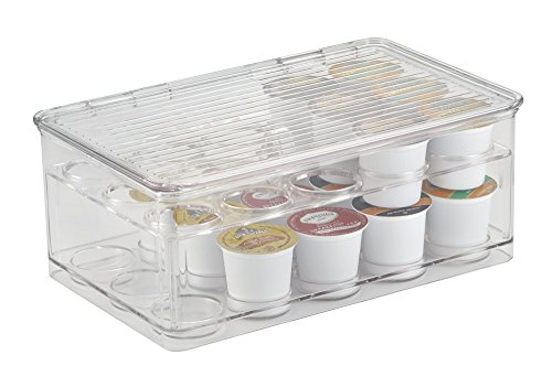 mDesign Stackable K-Cups Coffee Pod Holder with Lid for Kitchen Pantry, Countertops - 2-Tier, Holds 29 Capsules, Clear by MetroDecor